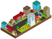 3D design for buildings in city. Illustration Stock Photo