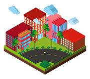 3D design for buildings on the corner. Illustration Royalty Free Stock Image