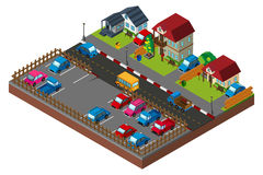 3D design for city scene with houses and cars Stock Images