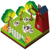 3D design for cows in the farm. Illustration Stock Photo