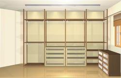 3d design de interiores, vestuario moderno espaçoso Imagens de Stock