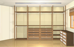 3d design de interiores, vestuario moderno espaçoso Fotografia de Stock Royalty Free