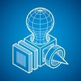 3D design, dimensionell kubform för abstrakt vektor Royaltyfri Bild