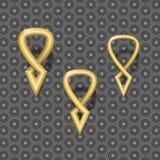 3D design element - set gold vintage markers. Stock Image