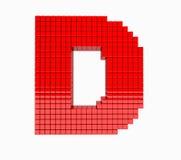 3D design the English alphabet red letter. D stock illustration