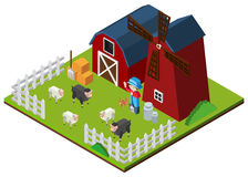 3D design for farm animals in the farm. Illustration Royalty Free Stock Photography