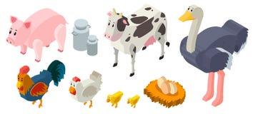 3D design for farm animals. Illustration Stock Photo