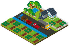 3D design for farmland with house and cars on the road Royalty Free Stock Image