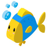 3D design for fish making bubbles. Illustration Royalty Free Stock Photography