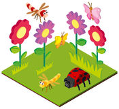 3D design for garden scene with bugs and flowers. Illustration Royalty Free Stock Photos