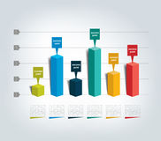 3D design graph. Infographics chart royalty free illustration