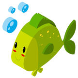 3D design for green fish. Illustration Stock Image