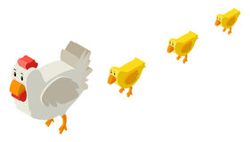 3D design for hen and little chicks Royalty Free Stock Photo