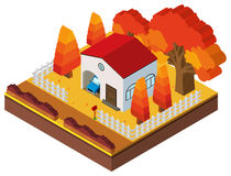 3D design for house in fall season. Illustration Royalty Free Stock Photos