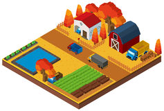3D design for houses and farmland Royalty Free Stock Image