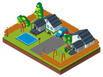 3D design for houses with pool and swings Stock Photos