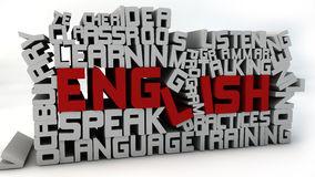 Learn english. 3d design. Learn design text and white background Royalty Free Stock Image