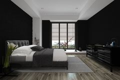 3D Design of Modern Architectural Home Bedroom Stock Images