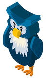 3D design for owl with blue feather. Illustration Stock Image