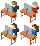 3D design for people working on computer. Illustration Stock Images