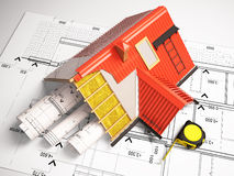 3d design of roofs on a background of drawings Stock Image