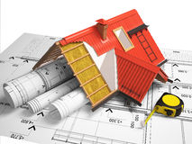 3d design of roofs on a background of drawings Royalty Free Stock Images