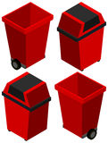 3D design for trashcan in red color. Illustration Stock Image