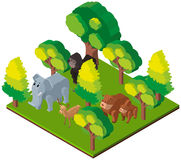 3D design for wild animals in forest. Illustration Stock Photo