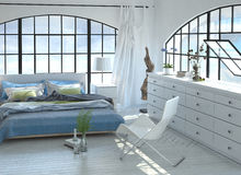 3D designed tranquil bedroom with arched windows Stock Photos