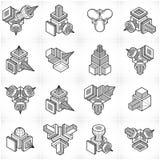 3D designer, abstrakt vektorformuppsättning stock illustrationer