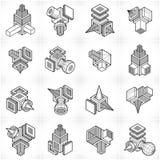3D designer, abstrakt vektorformuppsättning Royaltyfri Bild