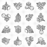 3D designer, abstrakt vektorformuppsättning Arkivbilder