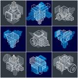 3D designer, uppsättning av den abstrakta vektorn formar Royaltyfri Fotografi
