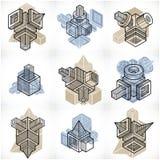 3D designer, uppsättning av den abstrakta vektorn formar Royaltyfria Bilder