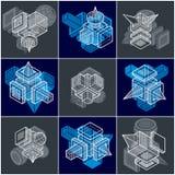 3D designer, uppsättning av den abstrakta vektorn formar stock illustrationer