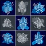 3D designer, uppsättning av den abstrakta vektorn formar royaltyfri illustrationer