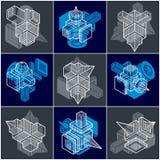 3D designer, uppsättning av den abstrakta vektorn formar vektor illustrationer