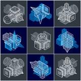 3D designer, uppsättning av den abstrakta vektorn formar Arkivfoto