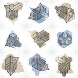 3D designer, uppsättning av den abstrakta vektorn formar Royaltyfri Bild