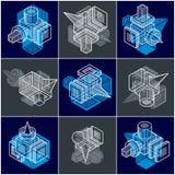 3D designer, uppsättning av den abstrakta vektorn formar Arkivbild