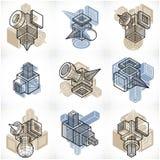 3D designer, uppsättning av den abstrakta vektorn formar Royaltyfria Foton