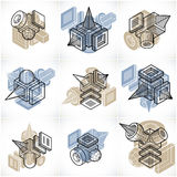 3D designer, uppsättning av den abstrakta vektorn formar Arkivbilder
