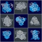 3D designer, uppsättning av den abstrakta vektorn formar Arkivfoton