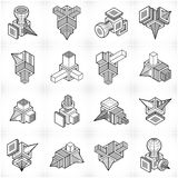 3D designs, abstract vector shapes set. Stock Photography