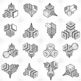 3D designs, abstract vector shapes set. Artisic abstraction illustration royalty free illustration