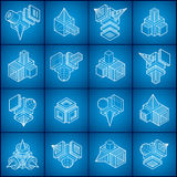 3D designs, abstract vector shapes set. Royalty Free Stock Images