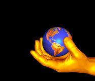 Holding globe. 3d designs of holding the globe in hand Royalty Free Stock Photos