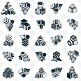 3D designs, set of abstract vector shapes. Abstraction, special artistic shape vector illustration