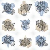 3D designs, set of abstract vector shapes. Royalty Free Stock Image