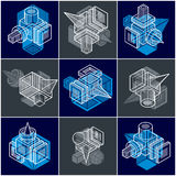 3D designs, set of abstract vector shapes. Stock Photography